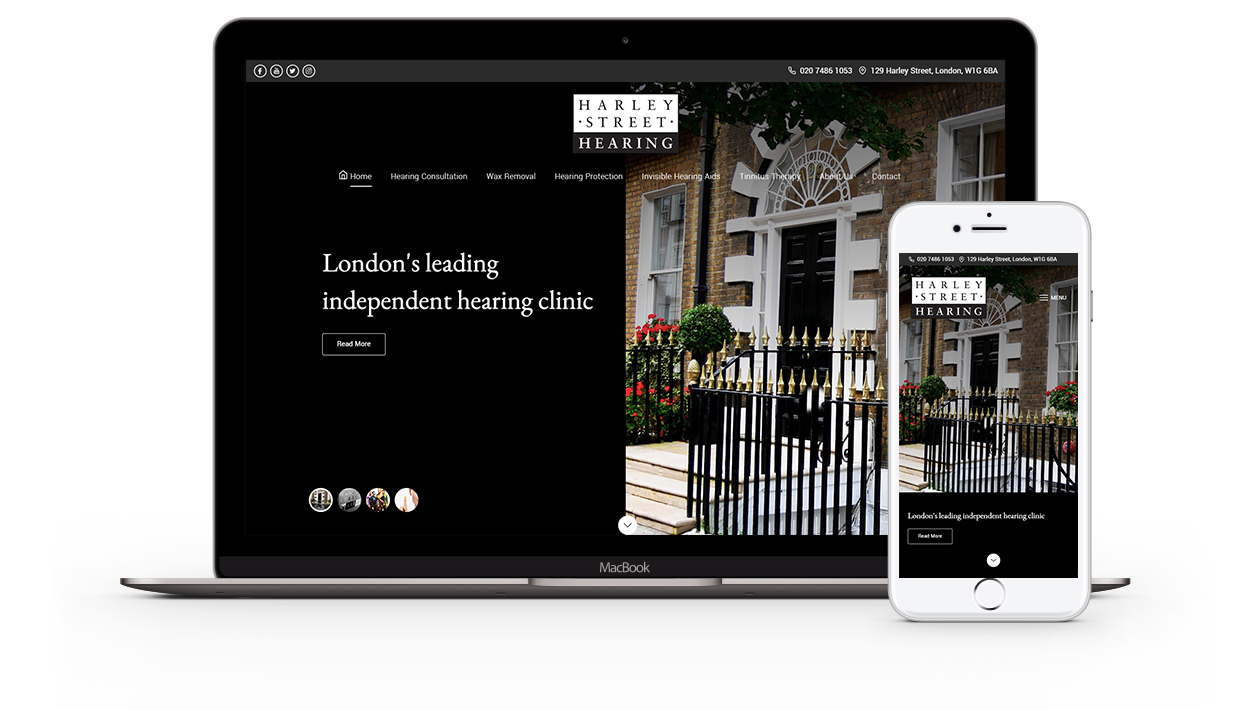 Combined device photos of the Harley Street Hearing website