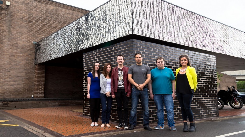 The Pixel Kicks team outside The Sharp Project