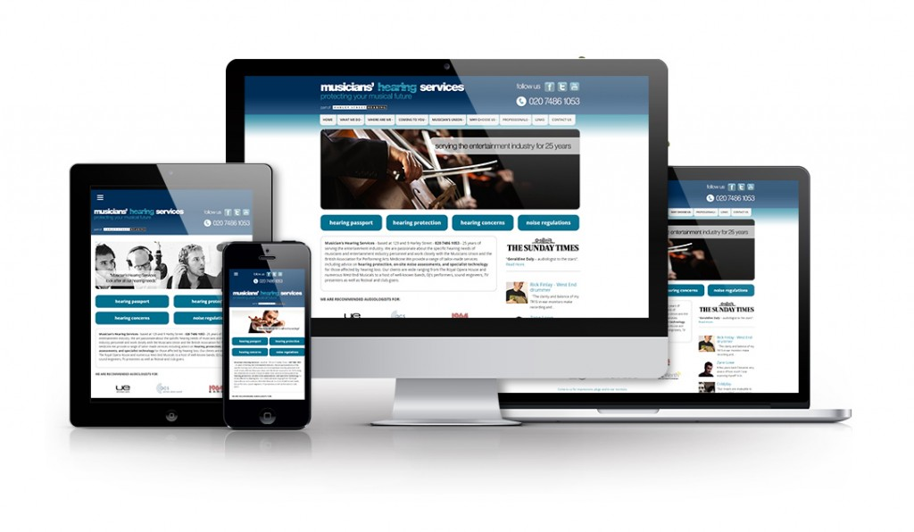 Responsive designs for Musician's Hearing Services