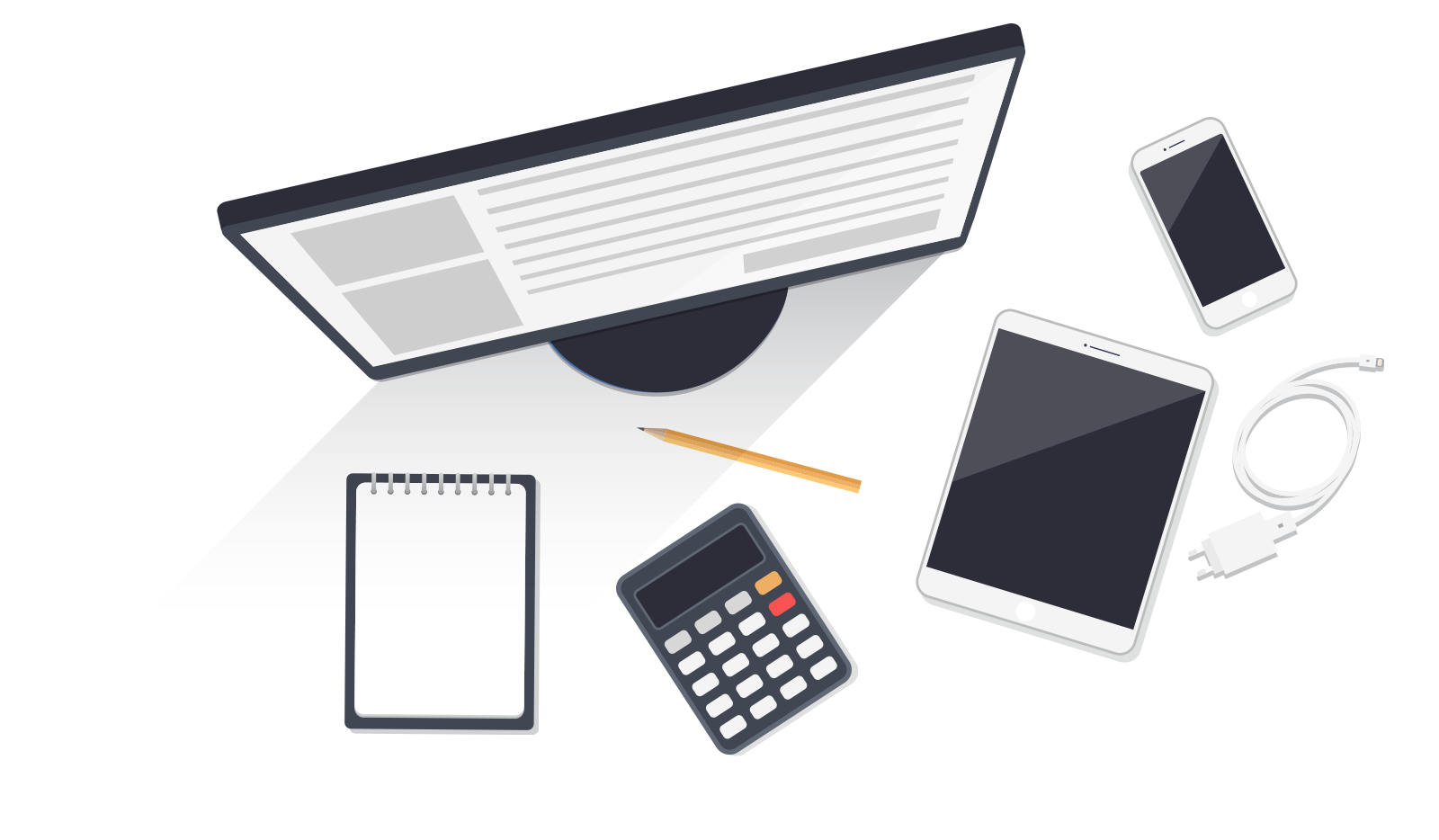 Desktop computer, ipad, smartphone, notepad & calculator