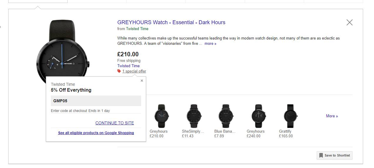 Google shopping promotional code