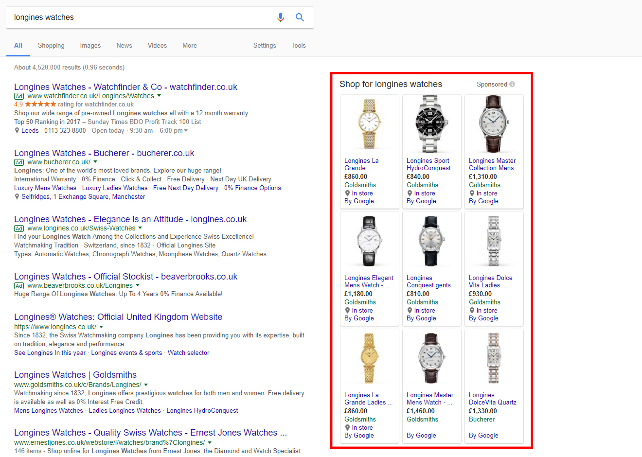 Google shopping on search