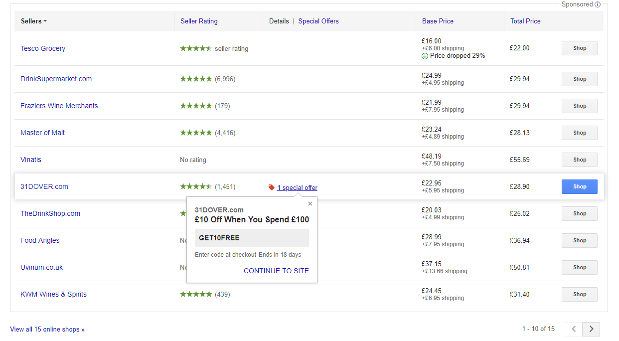 Screenshot showing a google shopping listing with a promotional tag