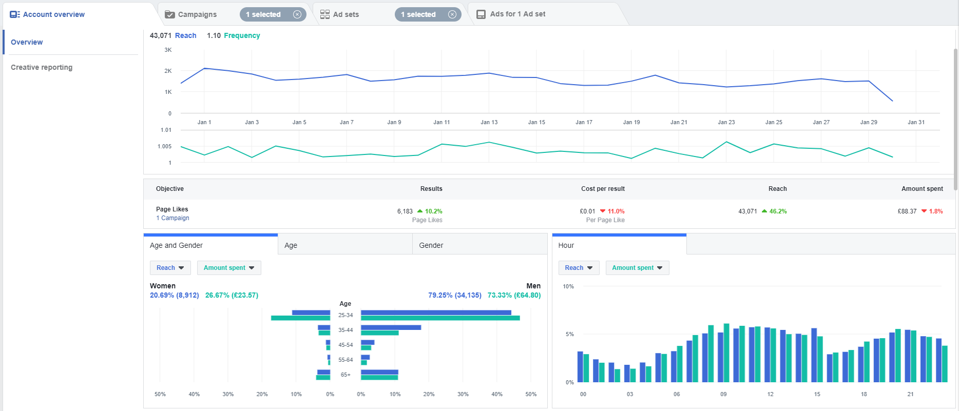 Facebook ads manager performance overview