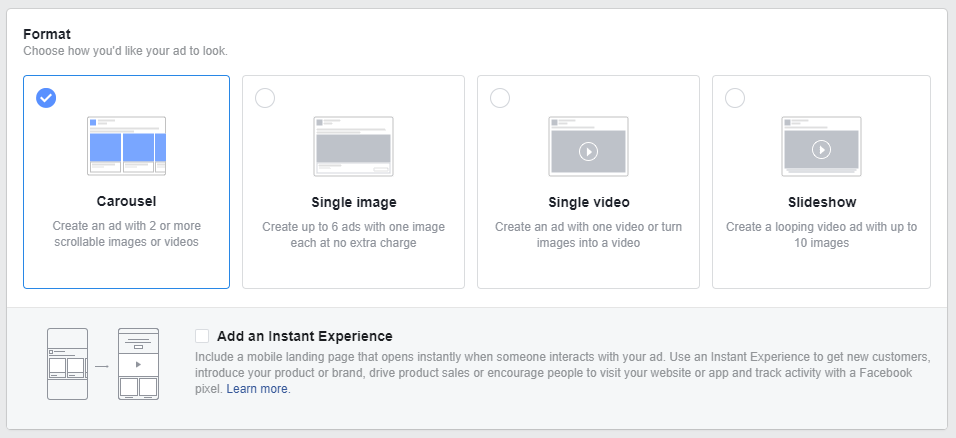 different facebook ad types