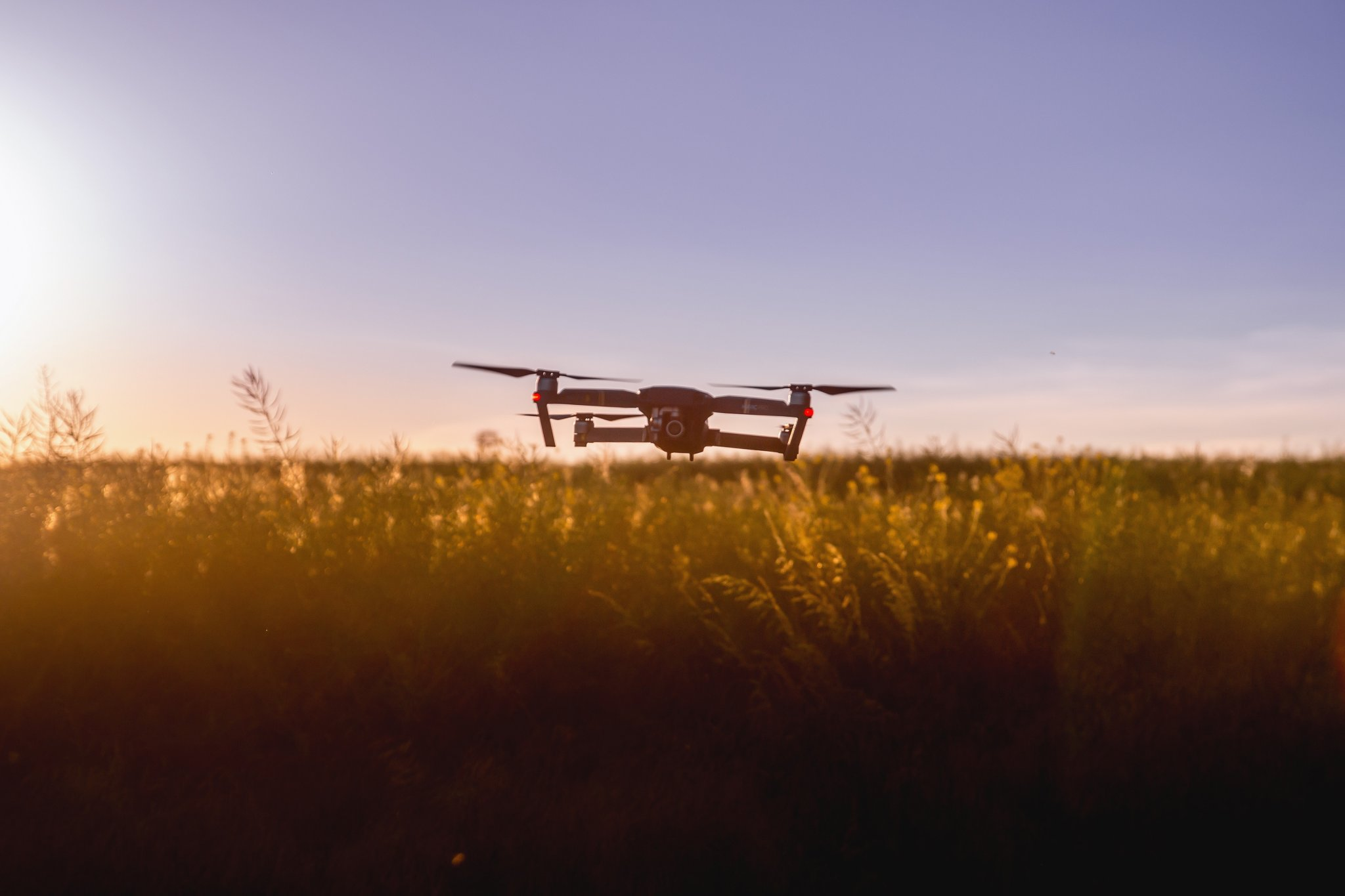 Drone flying above crops