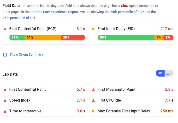 example pagespeed results
