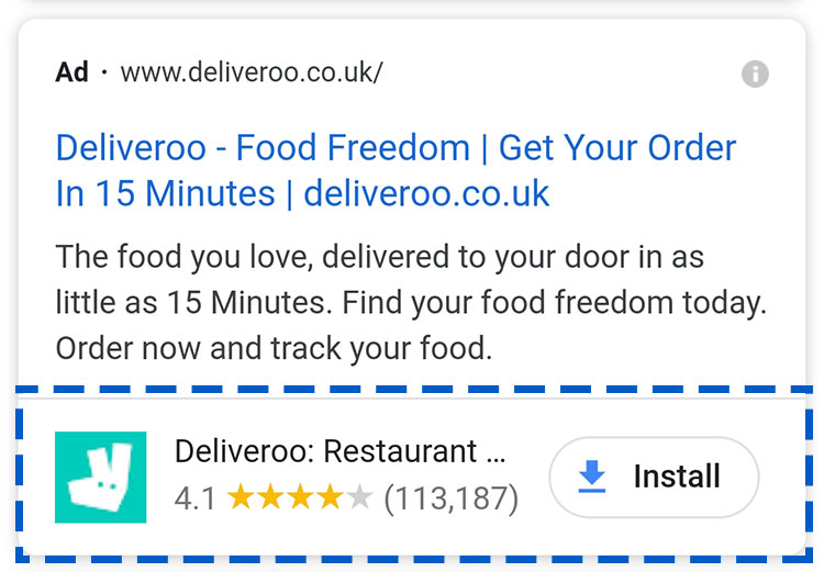 Example of Google Search App extension