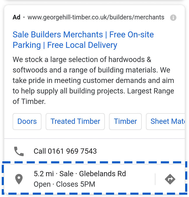 Example of a Google Search location extension on mobile