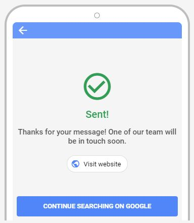 Lead generation form submission message on Google Search Ad Extensions