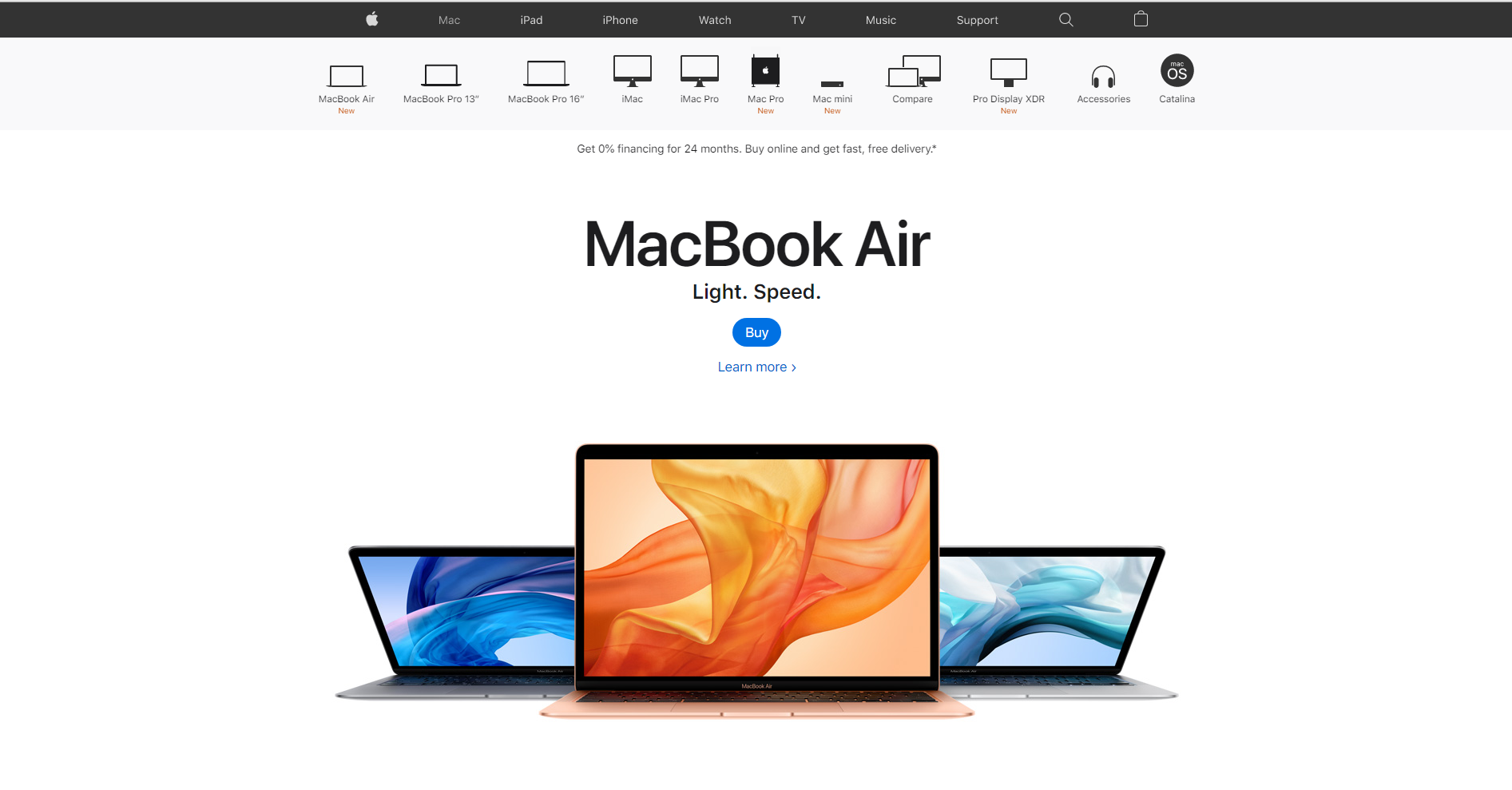 Apple MacBook Air Landing Page