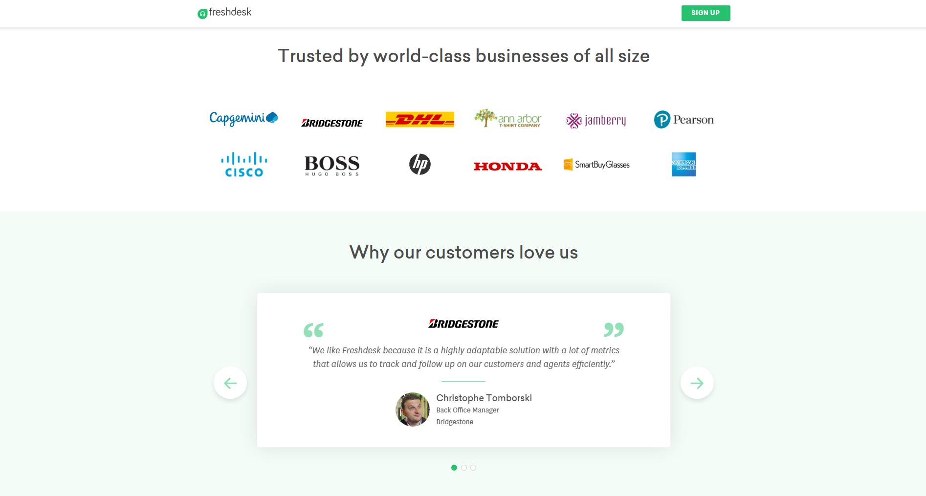 Freshdesk testimonials on landing page