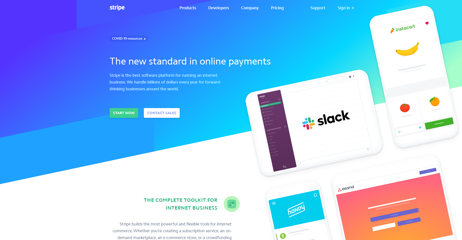 Stripe payment landing page