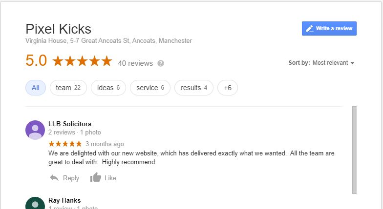 Example of Google reviews on My Business