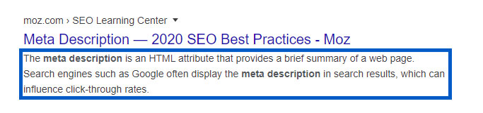 Example of a meta description appearing on Google