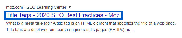 Example of a meta title tag displaying on a Google search result