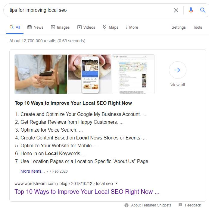 Google Featured Snippet box