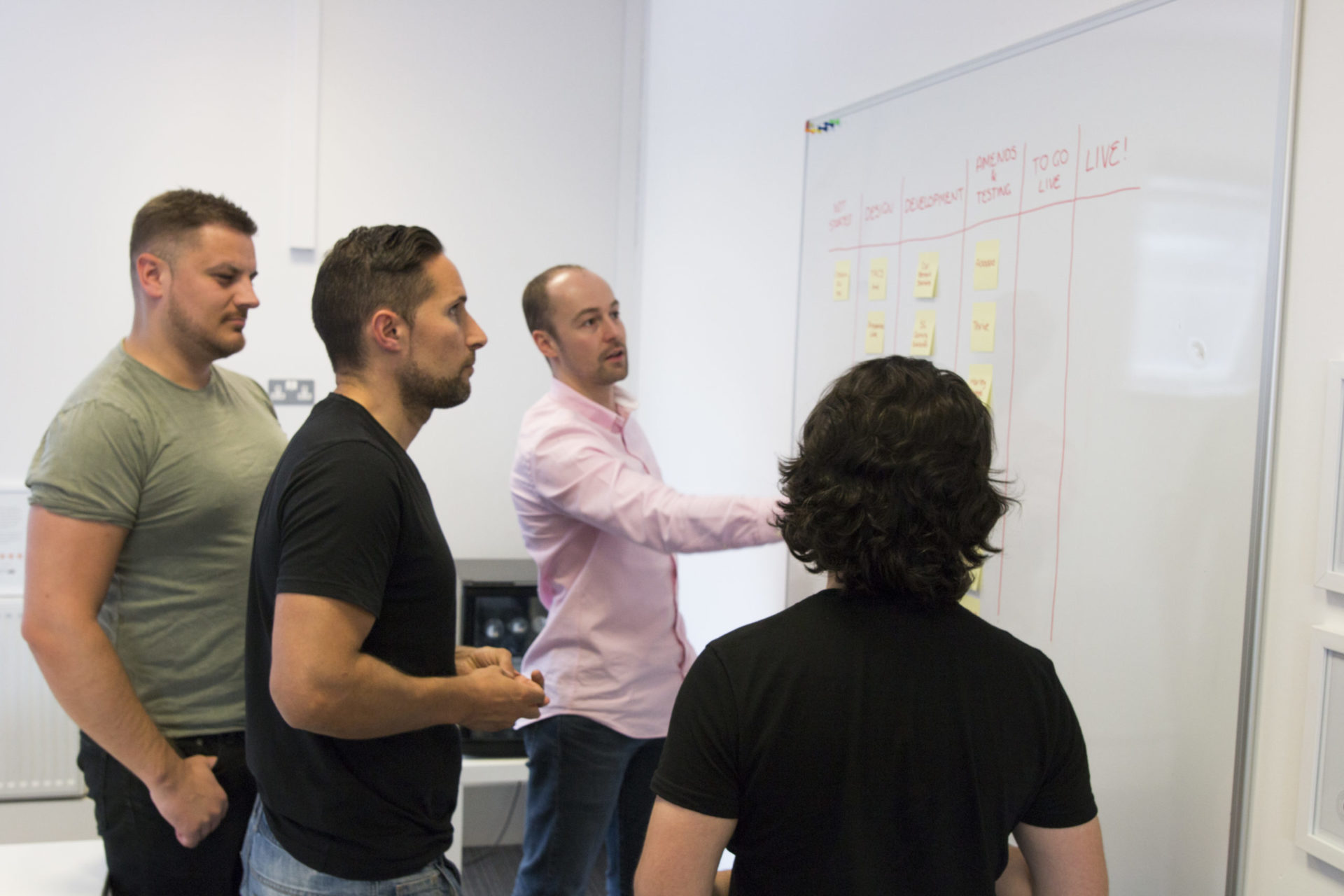 The Pixel Kicks team working together planning a new project