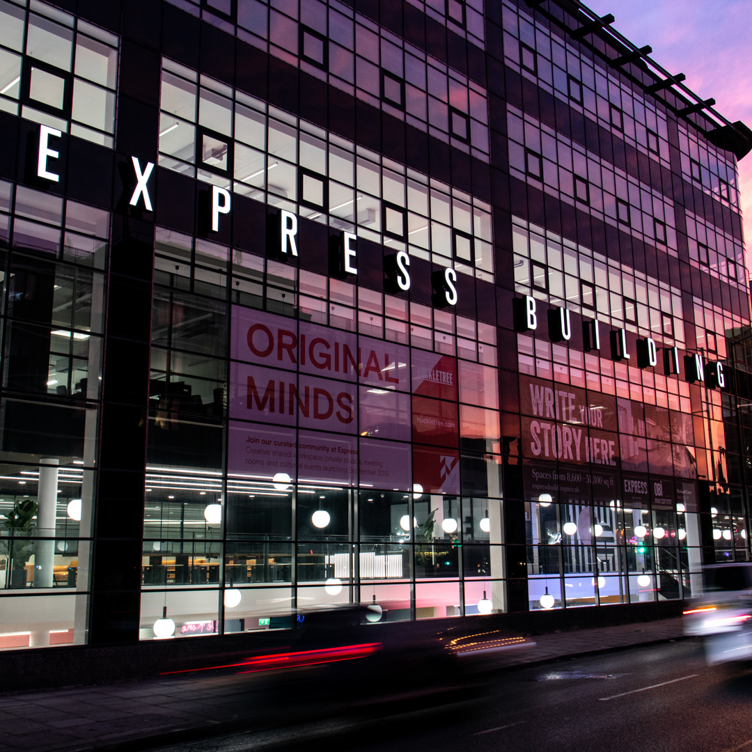 A sunrise shot of Manchester's Express building
