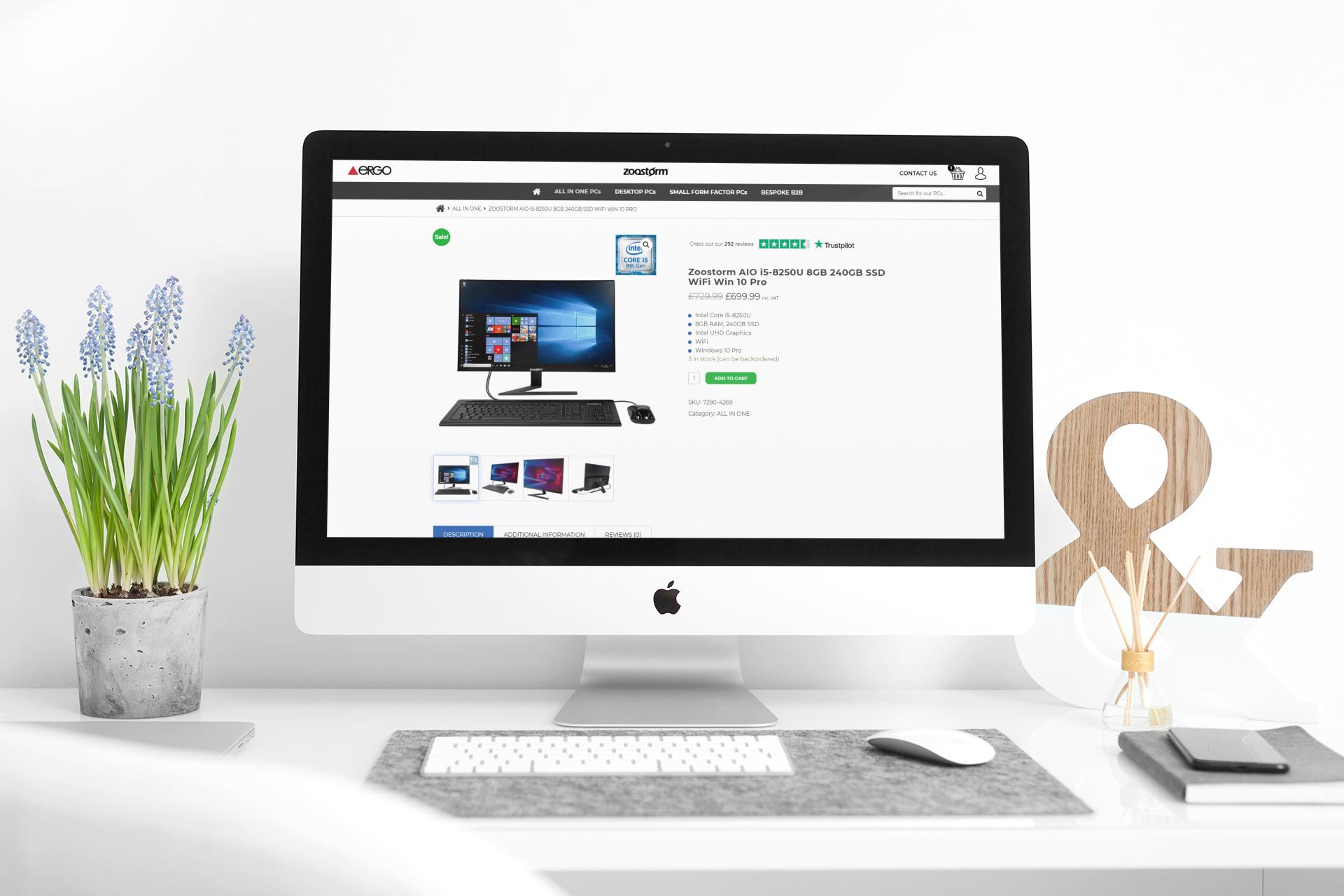iMac showing the Zoostorm website