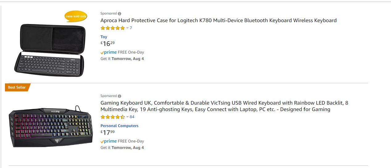 Amazon sponsored listings