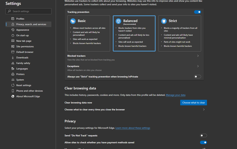 Clear browsing date in Microsoft Edge