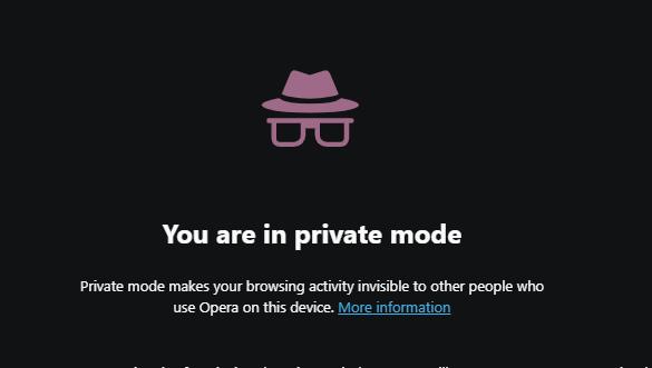 Private browsing mode in Opera