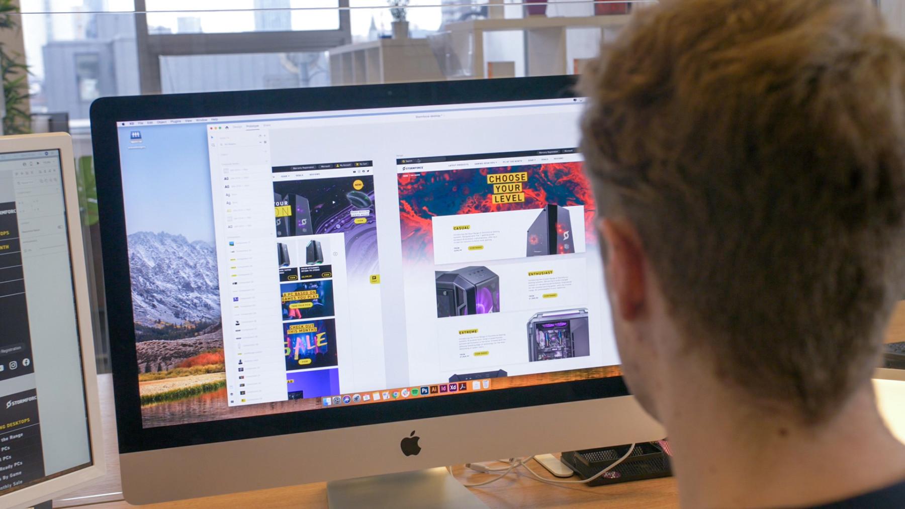Designer creating a website in Adobe XD