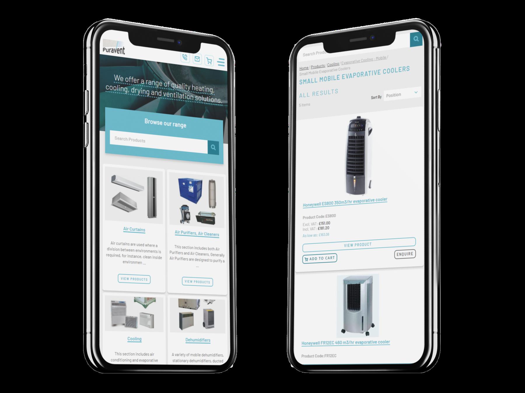Puravent Magento 2.4 Mobile Ecommerce Website