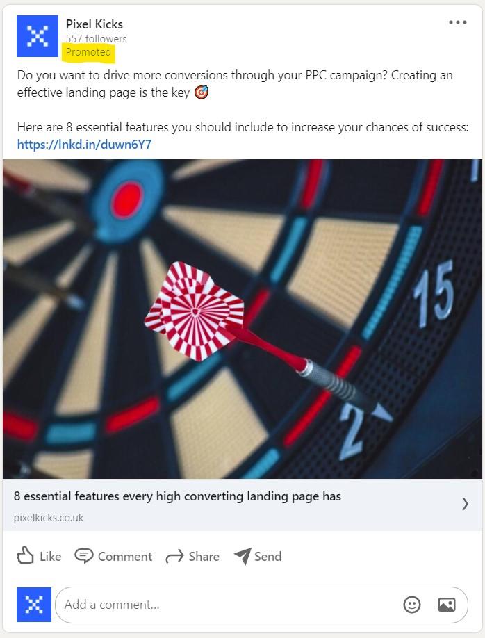 LinkedIn Sponsored Content, Single Image Post