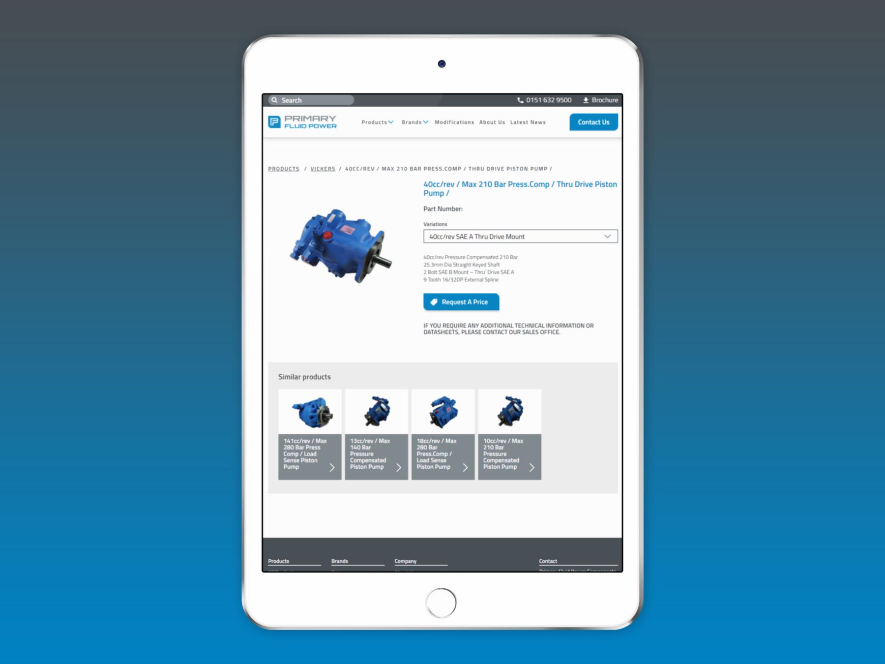 Primary Fluid Power   Ipad Website Design