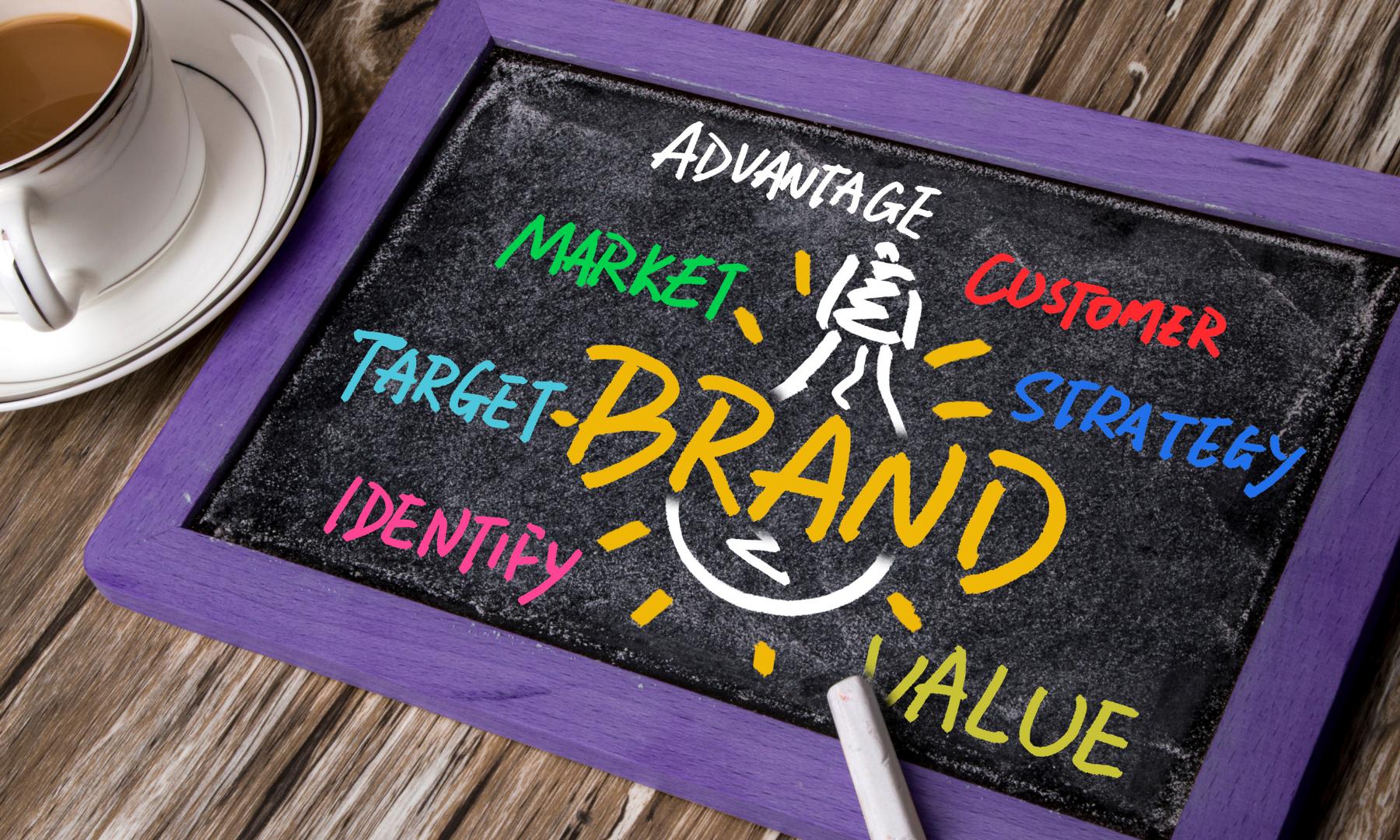 Brand strategy written down on a board