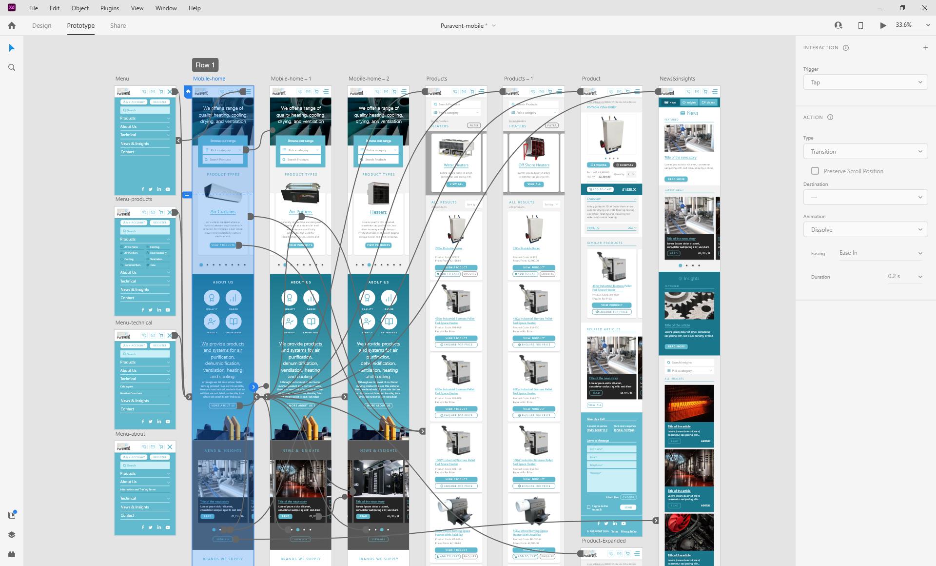 Adobe XD mobile website prototype