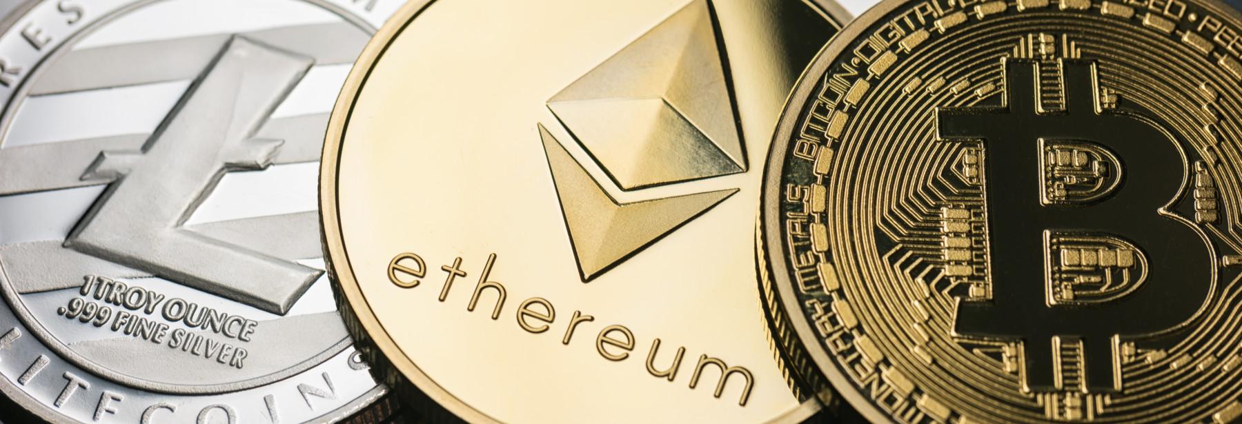 Bitcoin, Litecoin and Ethereum Cryptocurrencies